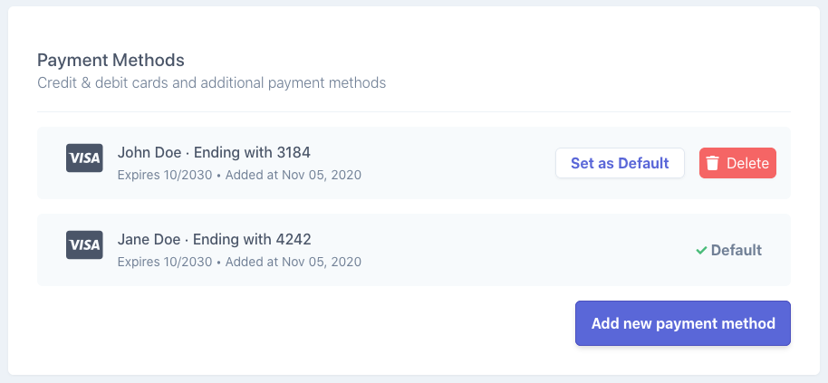 Settings page payment methods section